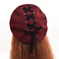 1pc Girls Winter Cute Lolita Beret Headwear Vintage Velvet Lace Up Painting Wool Hat Cap