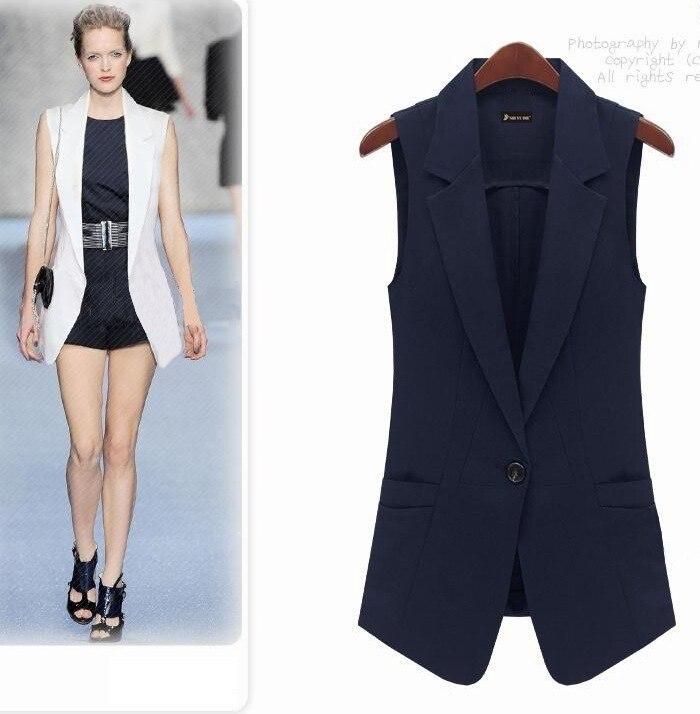 Women Vest Fashion Slim Medium long Summer Vest One Button White Vest Outerwear Female Lady ...