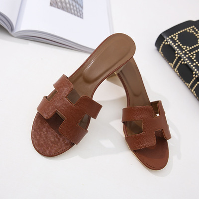 dc58967c78f US $37.78 48% OFF|High heeled sandals Women's luxury brand designer  slippers real cow leather ladies shoes H slippers high heeled women  fashiona-in ...