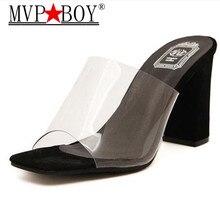 Mvp Boy Womens Slippers Transparent Glue Word Drag Fashion 2018 New high heel Shoes Summer Stars Also Wear 34-40