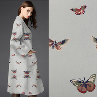 Fashion Woolen Fabrics Butterflies DIY Autumn Winter Thicker Solid Coat Imitation Wool Cloth Fabric 100 148cm