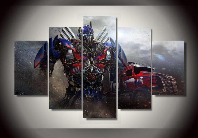 Framed Printed Optimus Prime Transformers 5 Piece Painting Wall Art Room  Decor Print Poster Picture Canvas