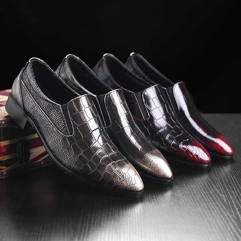 الفاخرة التمساح نمط أحذية من الجلد الرجال ملابس رسمية الزفاف الأحذية النبيذ الأسود الألوان