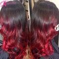 130% Densidad Ombre Brasileño Onda Del Cuerpo Del Cordón Del Pelo Humano Pelucas de Pelo de la Reina Del Pelo Humano pelucas Glueless Del Frente Del Cordón Rojo productos