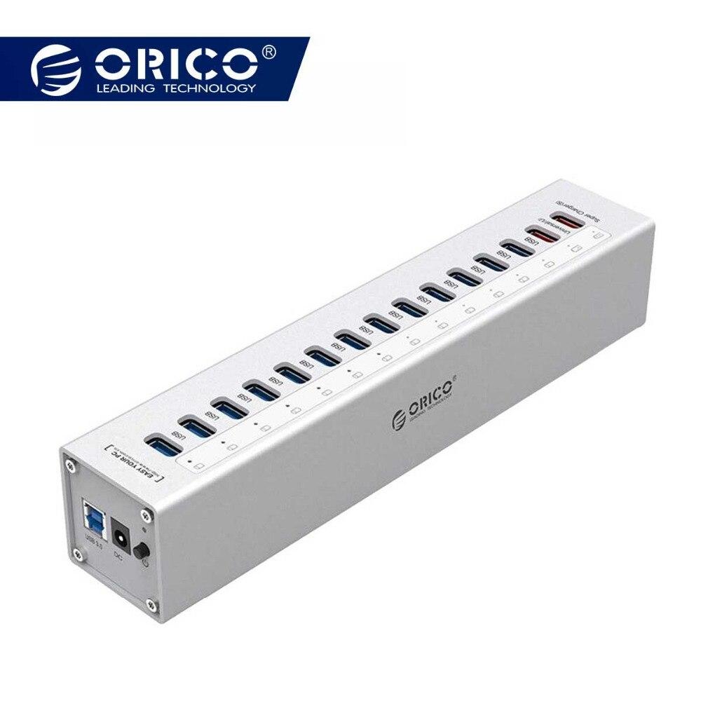 ORICO A3H13P2-SV Алюминий 13 Порты Multi USB3.0 HUB разветвитель с 2 зарядки Порты 5V2. 4A супер Зарядное устройство/5V1A Универсальный Серебряный