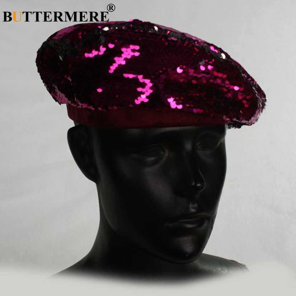 BUTTERMERE/шапки-береты с блестками, женские, французский головной убор художника, серебристый цвет, Женская Повседневная винтажная Осенняя Классическая бейсболка для ночного клуба