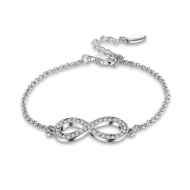 New Arrival And Vintage White Gold Chain 8 Shape Crystal Women Las Infinity Bracelet For Wedding