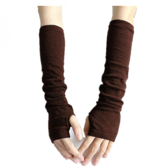 CUHAKCI Knitted Protection Fingerless Long Gloves Women Arm Warmers Solid Warm Mittens Half Finger Sleeves Black 2