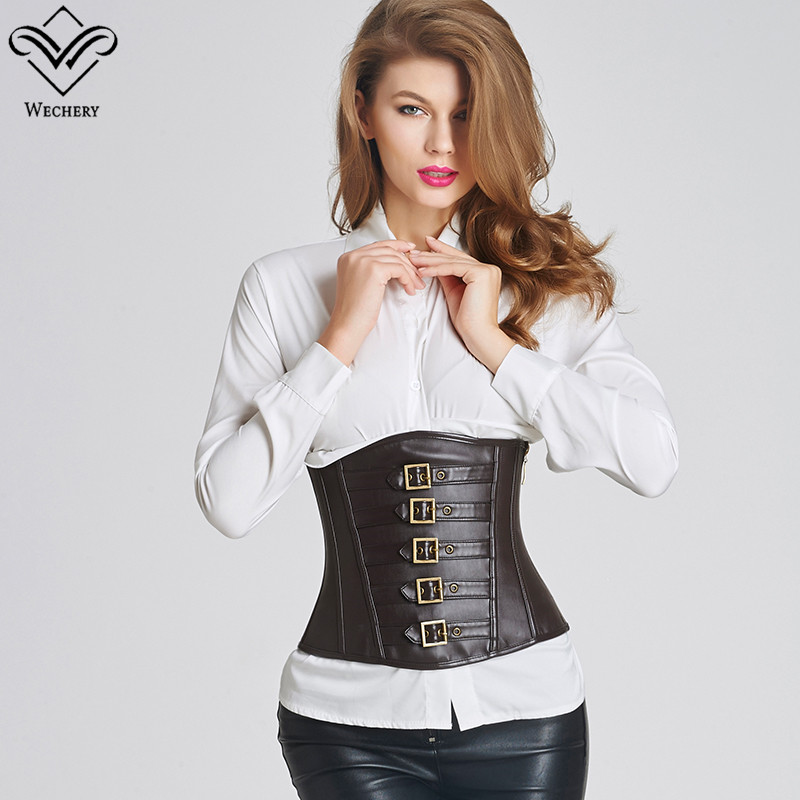 Wechery Brown Black Short Top   Bustier   Ladies Fashion Leather Underbust   Corset   Slim Wasit Shapewear Gothic Goth Style Punk Tops