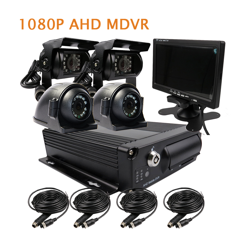 Free Shipping 4 Channel H.264 1080P AHD 256GB SD Car DVR Mobile Video Recorder Side Rear View Duty Car Camera + 7