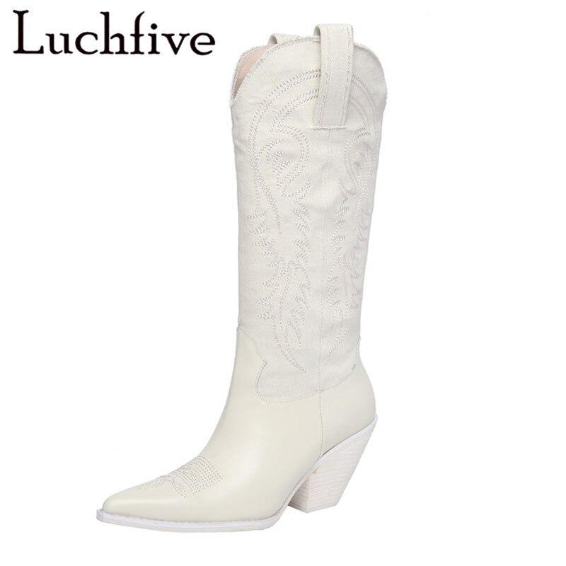 a40816d03210 Date réel en cuir denim genou haute bottes pour femmes broderie chevalier  longues bottes bleu blanc