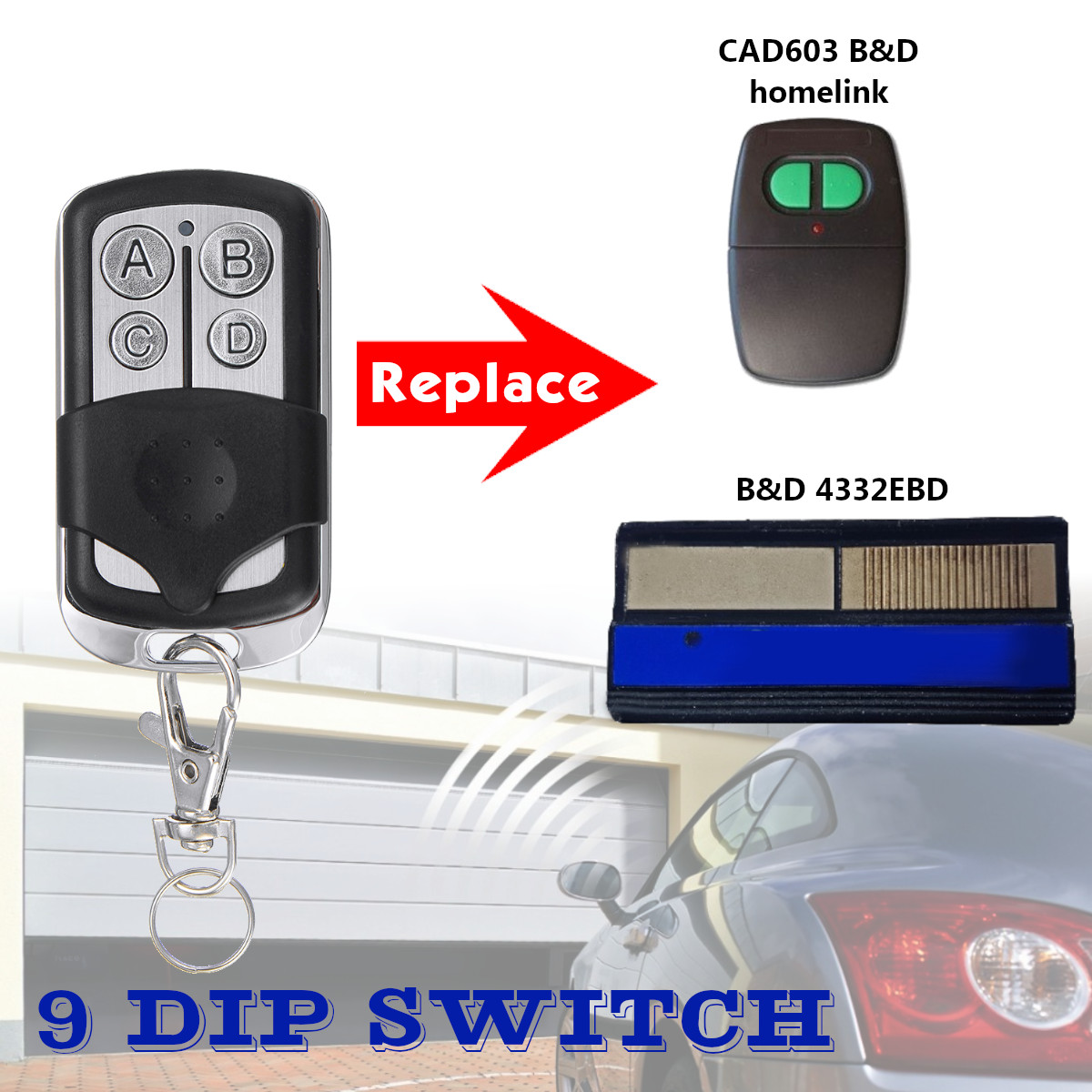 12v Garage Door Remote Control 433 92mhz 9 Dip Switch For