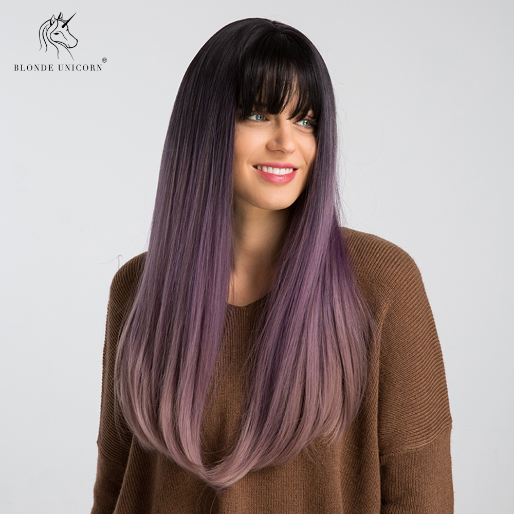 Blonde Unicorn 22 Inch Synthetic Dark Roots Ombre Purple Long Straight Hair Cosplay Wigs With Bangs Realistic Simulation Scalp