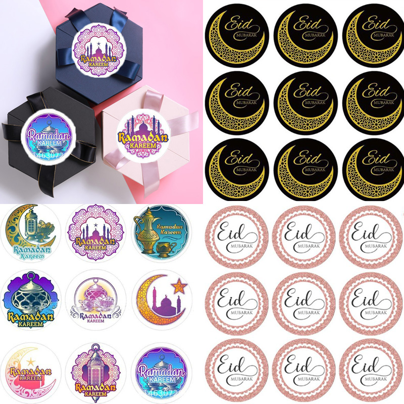 60Pcs Eid Mubarak Black Stickers In Box Lable Paper Seal Gift Stickers Ramadan Mubarak Eid Decorations Islamic Gifts Muslim