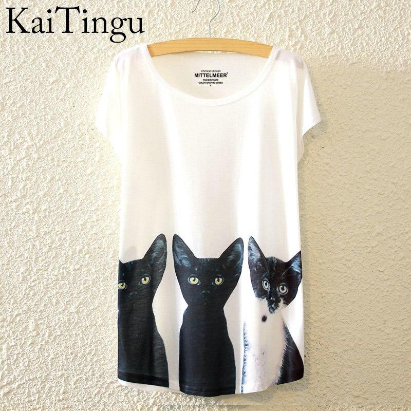 HTB1.9FKLpXXXXbUXFXXq6xXFXXXt - New Fashion Summer Animal Cat Print Shirt O-Neck Short Sleeve T Shirt