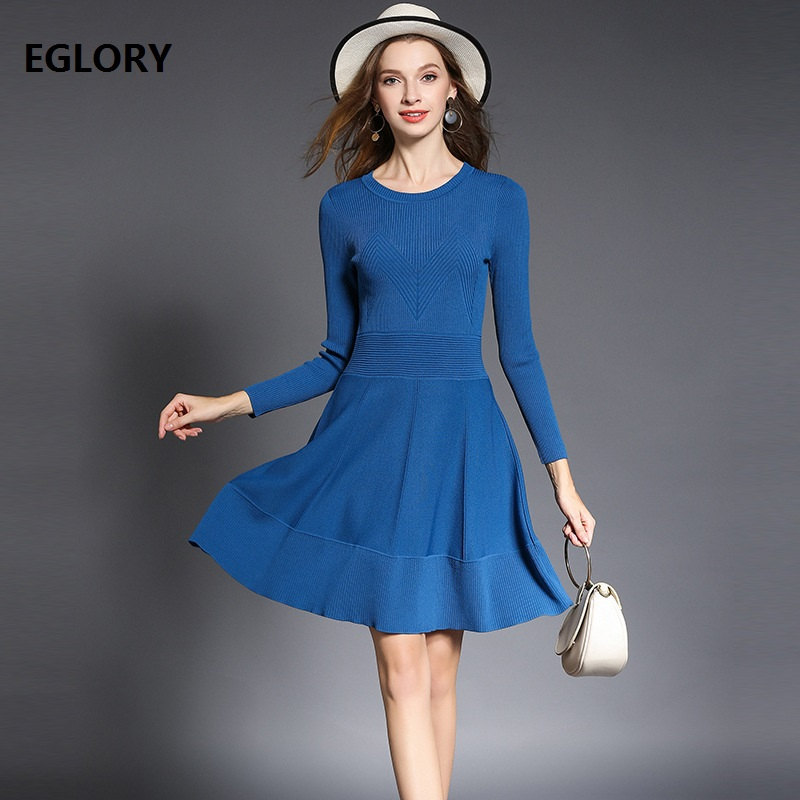 Long Sweaters for Womens High Quality Knitted Dress 2018 Spring Autumn Ladies Long Sleeve A-Line Basic Sweater Dress Blue Black