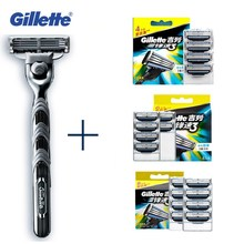 Genuine Gillette Mach 3 Razor Blades Face for Men Care Washable Shaver 1pcs + 4/8pcs