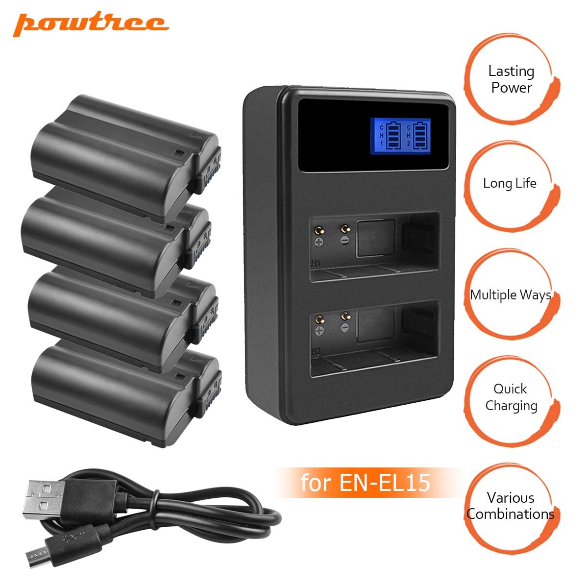 4X EN-EL15 EN EL15 ENEL15 EL15A baterías + LCD cargador Dual USB para Nikon D600 D610 D600E D800 D800E D810 d7000 D7100 d750 V1 L10