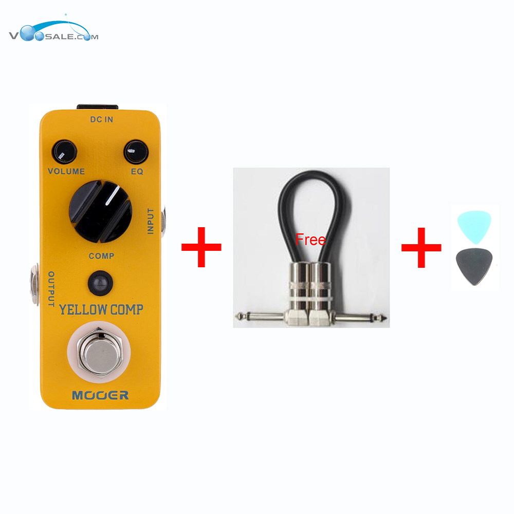 MOOER Yellow Comp Micro Mini Optical Compressor Effect Pedal  Electric Guitar True Bypass Guitar Accessories + Free Cable italy baroni lab dave s comp compressor guitar effect pedal stompbox true bypass