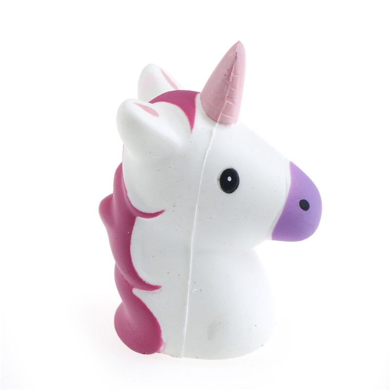 Squishy Unicorn Head : JINHF 1 Pcs Unicorn Head Squishy Super Slow Rising Jumbo Horse Straps Soft Cream Scented Bread ...