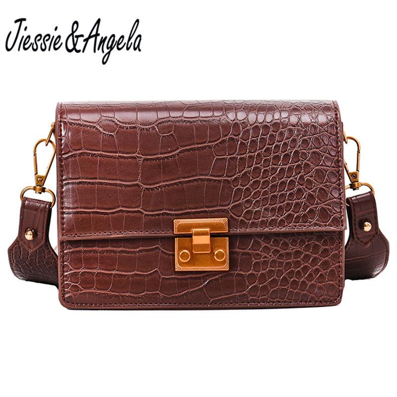 Jiessie&Angela New Famous Brand Women's Bag Handbags Women Messenger Bags Vintage Leather Top-Handbag Crossbody Shoulder Purse