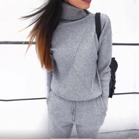 WOMEN'S winter Woolen And Cashmere Knitted Warm Suit High Collar Sweater + Mink Cashmere Pants Loose Style Two piece Set Knit