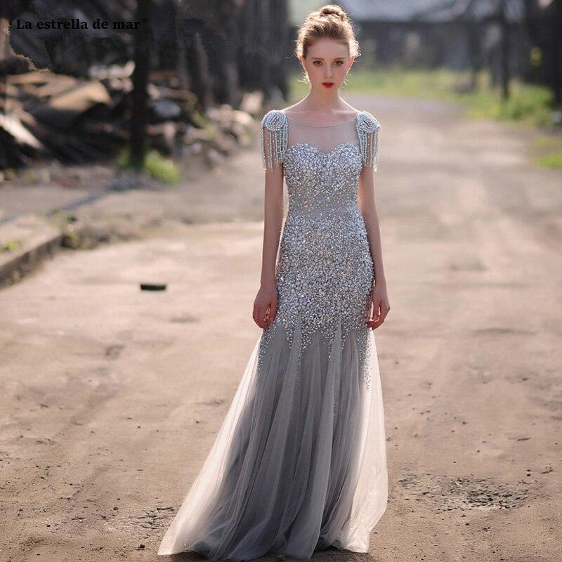 Vestido gala 2019 nouveau Scoop cou tulle cristal à manches courtes gland luxe argent sexy sirène robe de bal longue formelle robe personnalisée