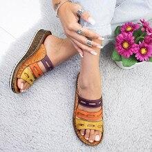 Популярные модели женских сандалий; новинка года; повседневные женские шлепанцы в римском стиле на танкетке с толстой подошвой; большие размеры