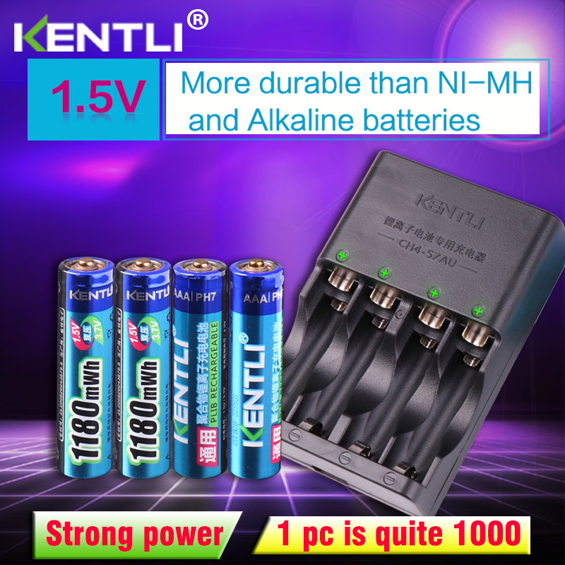 KENTLI 4pcs 1 5v aaa 1180mWh Rechargeable Li ion Li polymer Lithium battery 4 slots AA AAA lithium Smart Charger in Replacement Batteries from Consumer Electronics