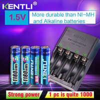 Soldadli 4 Uds 1,5 v aaa 1180mWh batería recargable de litio Li-ion de polímero de litio + 4 ranuras AA AAA cargador inteligente de litio