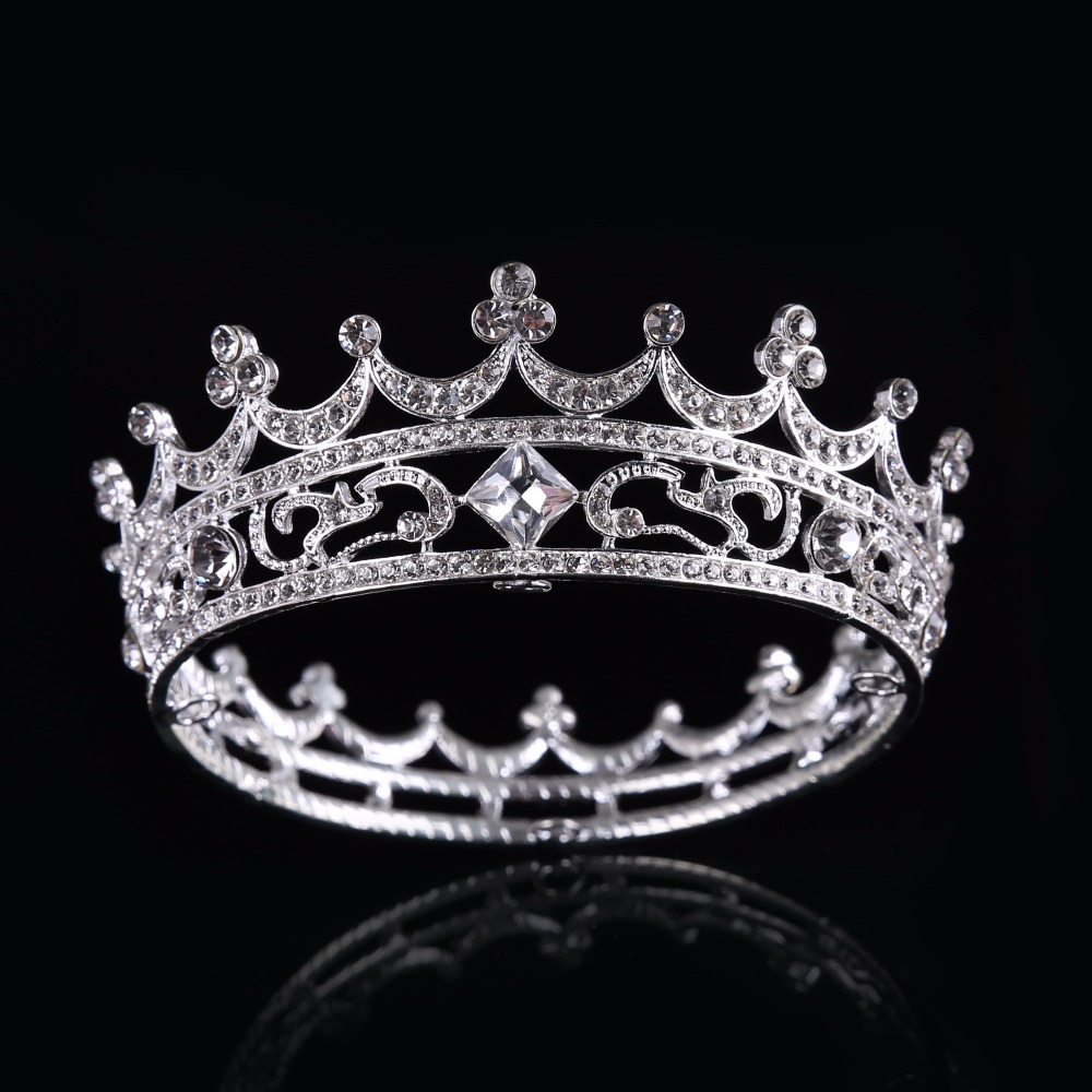 Crown of the Silver Fashion Crystal Crown Glass Tiaras Princess With the Crown Hollow Crystal Ornaments HG030