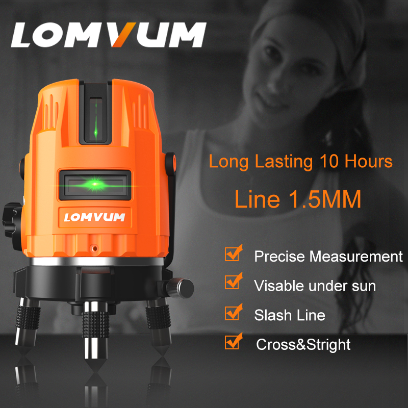 LOMVUM Laser Level 5 Lines 360 Rotary laser line leveling green line Precise measurement laser level indoor&outdoor laser level kapro clamp type high precision infrared light level laser level line marking the investment line