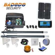 Kit de abridor de puerta automático, operador de puerta Dual Solar de alta resistencia para puertas abatibles duales de hasta 16 pies o 440 libras, opcional GSM