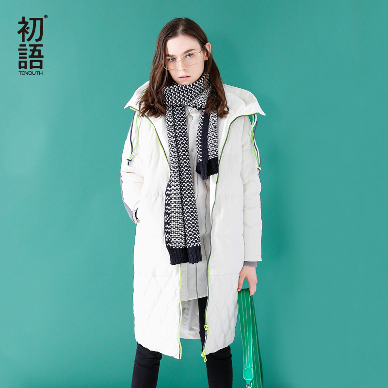 Toyouth Down Coat 2019 Winter Women Fashion  Long Thick Hooded Striped Long Sleeves Casual  Down Coat