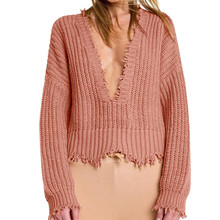 c71ef52bc1 Cut Edge Knit Sweater Women Drop Shoulder Long Sleeve Casual Pullovers  Autumn Fashion Burgundy Sexy Ugly