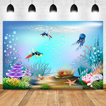 Neoback Underwater World Baby Newborn Birthday Photography Background Goldfish Seaweed Shower Booth Backdrop Photo Studio