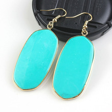 UMY Elegant Shiny 18K Gold Plated Turquoise Stone Oval Dangle Earrings For Women Trends Jewelry