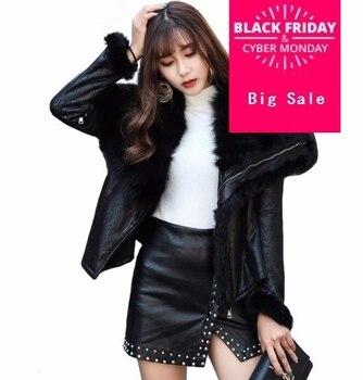 Black coffee 2019 spring Natural Fox Fur Long Fleece Slim Women's Zipper Sashes Coat Jacket Plus Size W183