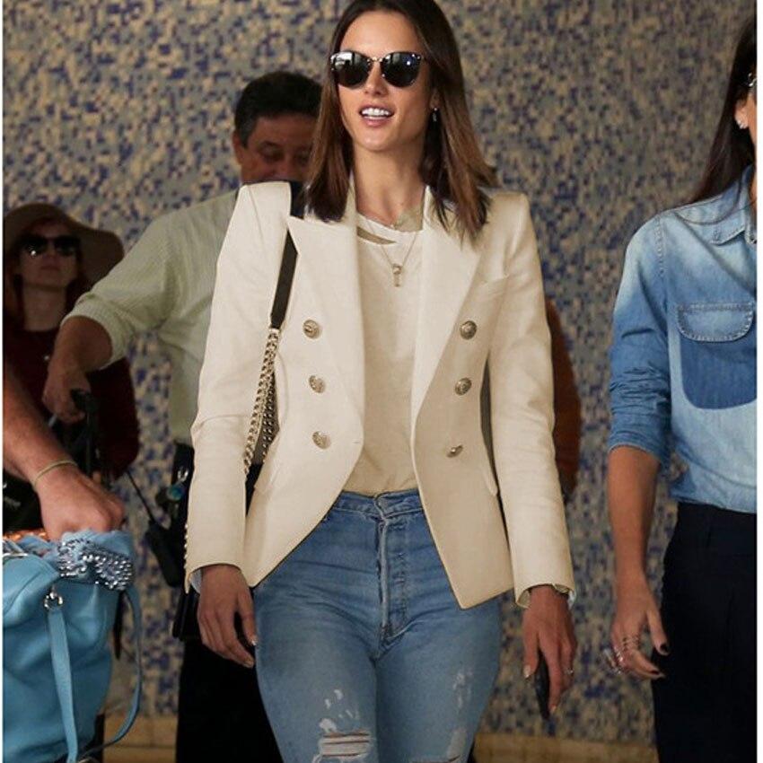 Ladies Beige Blazer Long Sleeve Blaser 2018 Women Suit jacket Female  Feminine Blazer Femme Pink Blue White Black Blazer Autumn-in Blazers from  Women s ... 28cab203657f