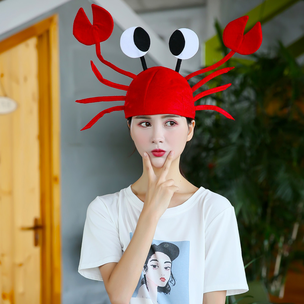 Funny Red Lobster Beanie Hats & Caps Men Crab Sea Animal Hat Costume Adult Child Christmas Halloween Cap Gift Party Decoration