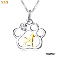 100% Real Pure 925 Sterling Silver Gold Dog Tag Paw Print Pendants Necklaces Pet Animal Jewelry Unisex Wholesale GNX10262