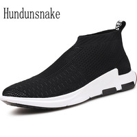 Hundunsnake Black Trail Sock Sneakers Men Sport Shoes Male Adult Breathable Mesh Running Shoe For Men