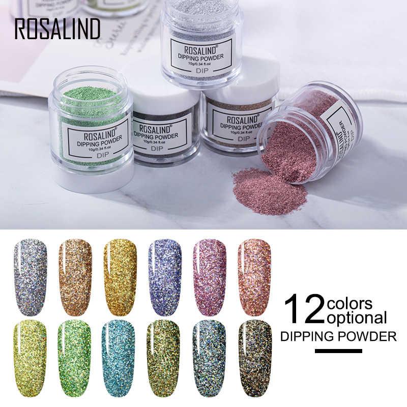 Розалинд Dip порошок лак для ногтей градиент Сияющий хром пигмент погружение порошок Набор голографический блеск ногтей хлопья блестки