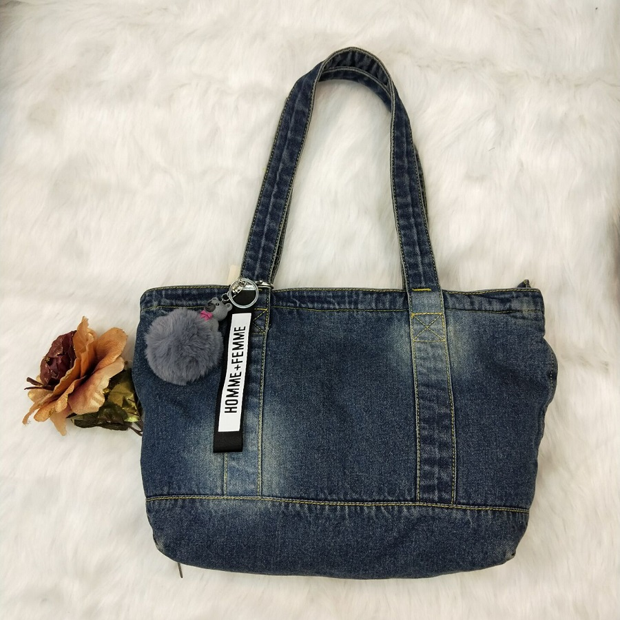 Casual Fashion Zipper Design Denim Applique Pocket Vintage Women Tote Bags Lady Handbags Jeans Denim Shoulder