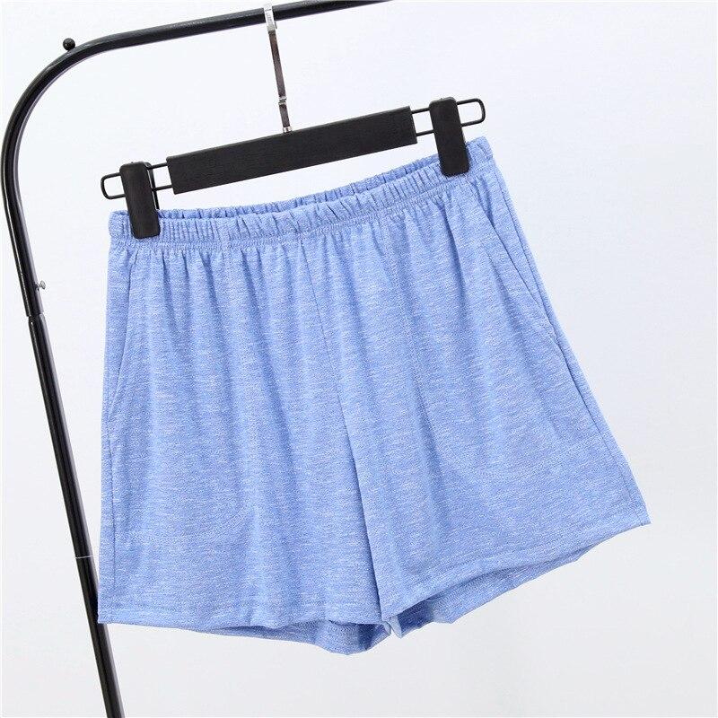 Летние женские шорты, тянущиеся, бамбуковые, хлопковые Пижамные штаны, свободная одежда для жизни, одноцветные женские штаны, нижнее белье, одежда для сна, пижама - Цвет: Небесно-голубой