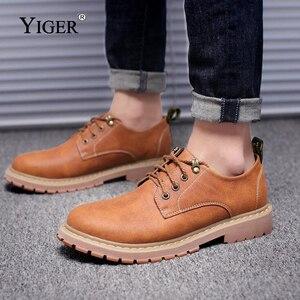 Image 5 - YIGER חדש גברים של פנאי נעלי גברים מקרית שרוכים נעלי גדול גודל נגד החלקה ללבוש עמיד גומי סוליות גברים של נעליים שטוחות 0075