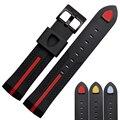 Chegada nova Macio de Alta Qualidade Tafilete Bracelete de Silicone Relógio de Pulso Banda 22mm preto Frete Grátis