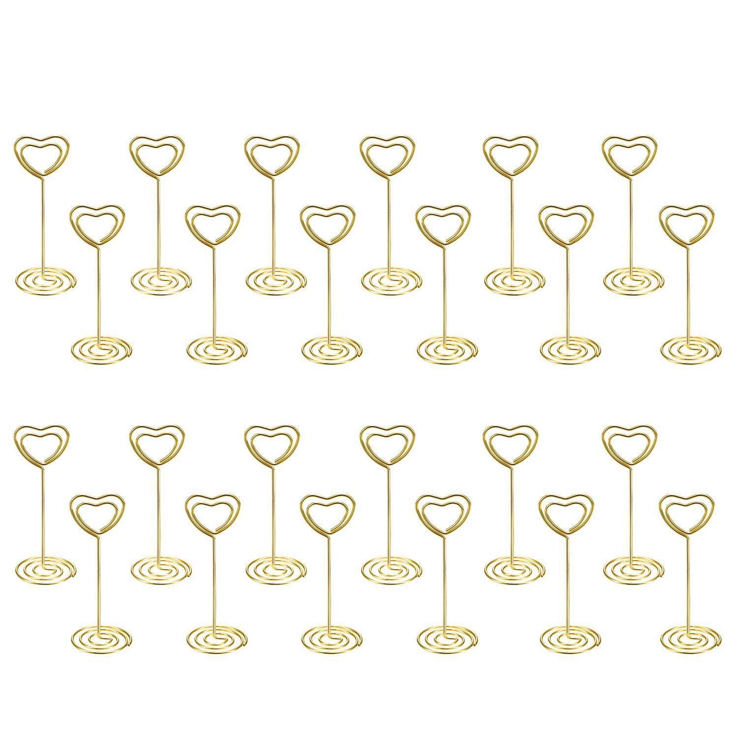 Hot sale 24 Pack of Table Number Card Holders Photo Holder Stand Place Card Paper Menu Clips Holders, Gold Heart Shape heart of gold