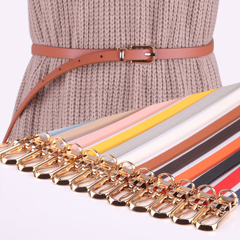 Adjustable Belt Waistband Strap Cinto Women Dress Faux-Leather Skinny Thin Candy-Color