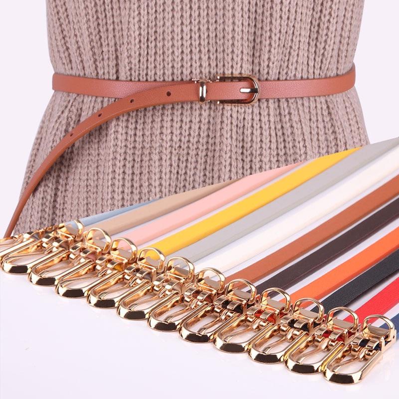 Women Faux Leather Belts Candy Color Thin Skinny Waistband Adjustable Belt Women Dress Strap Cinturon Mujer Cinto Feminino